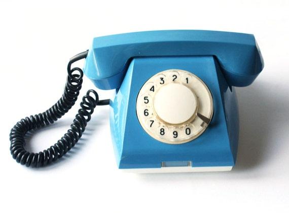 Vintage blue rotary phone