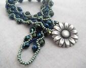 Midnight Blue Green Daisy Bracelet