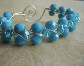 Wire Bracelet - Turquoise Aqua Silver