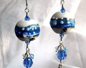 Seafoam Lampwork Bead Earrings with Crystals. Blue. Green. Aqua.