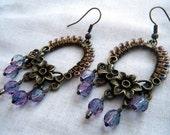 Antique Bronze Purple Floral Dangle Earrings