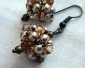 Bronze Pearl and Crystal Cluster Earrings