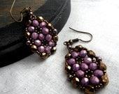 Beaded Earrings - Framed Flower Purple and Bronze