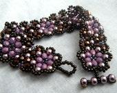 Floral Chain Cuff Bracelet - Dark Bronze, Chocolate and Lilac Purple