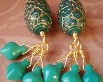 Beaded Earrings - Teal Damask
