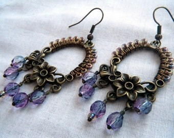 Antique Bronze Purple Floral Dangle Earrings