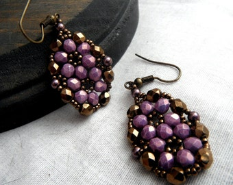 Beaded Earrings - Framed Flower Purple and Bronze