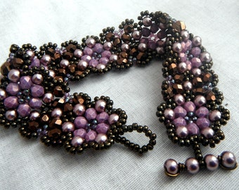 Floral Chain Cuff Bracelet - Dark Bronze, Chocolate and Lilac Purple
