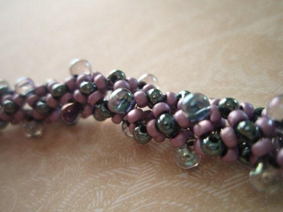 Violet and Blue Bubbly Beaded Bracelet