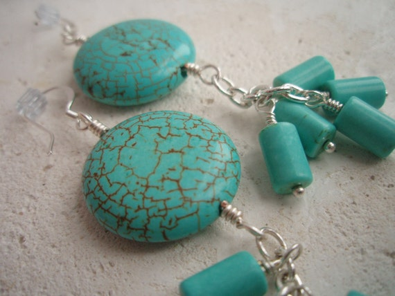 Turquoise Dyed Howlite Silver Dangle Earrings