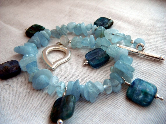 Kyanite and Aquamarine Bracelet - semiprecious blue green silver