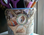 Decoupaged Pen and Pencil Holder Beach Theme Organizer  Upcycled Treasury Item