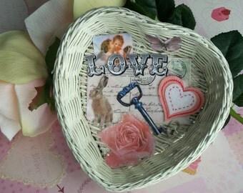 LOVE Decoupaged Embellished Basket Valentines Day OOAK