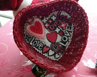 Valentine Decoupage Heart Basket Modern Dark Cherry Red Glittered Felted Hearts Pink White and Red OOAK