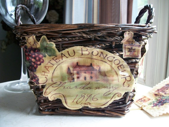 Decoupaged Basket French Provence French Country - Treasury Item