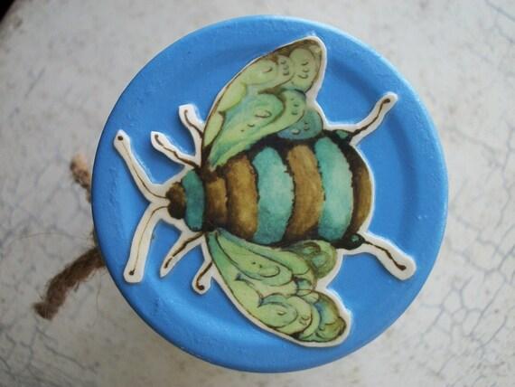Decoupaged Jar Honey Bee Bumble Bee Upcycled