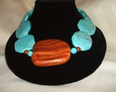 Turquoise Necklace with Wood Pendant