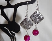 Raspberry Agate and Silver Earrings