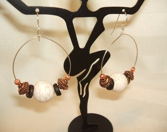 White Turquoise Hoop Earrings