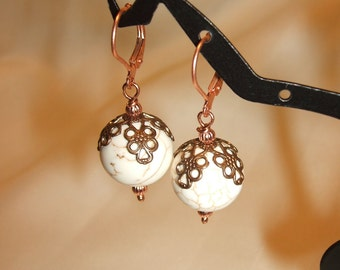 White Turquoise and Copper  Earrings