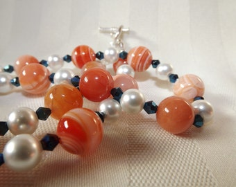 Carnelian and Pearl Necklace Set