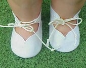 White Velour Mary Jane Style Doll Shoes Tie on Doll Shoes for 12 inch Doll will Fit Chatty Baby or Kewpie Doll