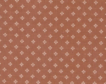 "Brown & White Print Cotton Fabric  - 34"" X 45"" Wide - Ideal 4 Clothes, Scrappy Quilt Piecing 1980s VIP Yardage - Inventory # 205"