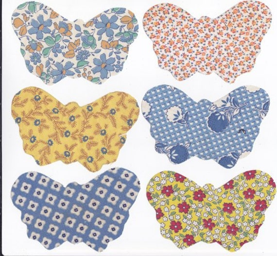 6 Vintage Precut Butterfly Appliques 4 Doll Quilt Candle Mat Table Runner Scrap Booking Antique Printed Mini Butterflies Lot 201