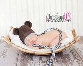 0-3 month Bear beanie with earflaps in Warm Brown