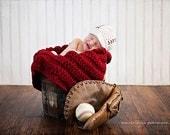 "Baseball Newsboy Cap with Chunky Blanket 28""x18"""