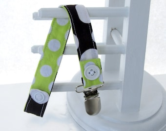 Pacifier Clip with Snaps Double Sided - brown polka dots/light green polka dots