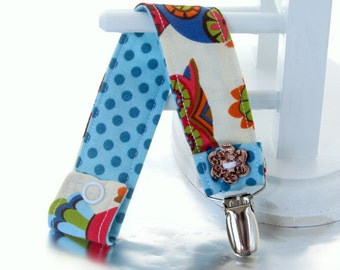 Pacifier Clip with Snaps Double Sided - owl blue, green and red/blue polka dots