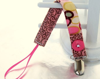 Pacifier Clip with Ribbon Double Sided - pink, green and yellow circles/pink with brown swiggles