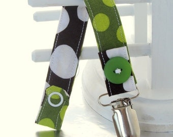 Pacifier Clip with Snaps Double Sided - green polka dots/brown with white polka dots