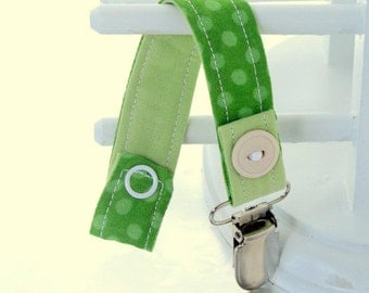 Pacifier Clip with Snaps Double Sided - green polka dots/green