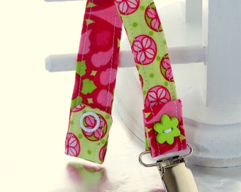 Pacifier Clip with Snaps Double Sided - green with pink circle flowers/pink and green
