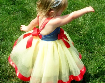 Snow White Costume: red blue & yellow lined tutu dress, birthday party, princess trip dress, easy on and off, adjustable, princess dinner