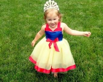 Snow White Birthday Dress: blue red & yellow tutu dress costume, princess party, vacation, easy on off wrap around, halloween costume, trip