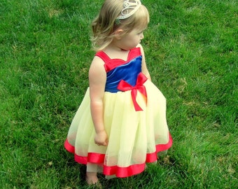 Snow White Tutu Dress: red blue & yellow party, Easy on off wrap around dress, side snap ribbon enclosure, birthday, princess dinner trip
