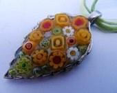 Yellows Mosaic Millefiori Leaf Pendant