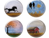 At the Farm - Painting Prints - One Inch Premium Glass MAGNETS - Set of Four