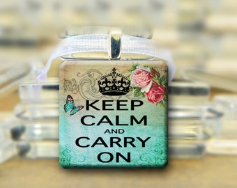 Keep Calm  Pendant  Necklace - Blue & Brown with Roses- 1 inch square tile #017