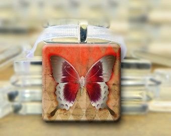 Red Butterfly Pendant, necklace  1 inch square glass tile Brown #103