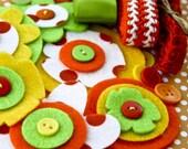 Vegetable Garden Embellishment Kit (6 felt flowers, 3 yards of ribbon/trim, 10 buttons)