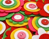 Tropics - Felt Blooms (6 handcrafted felt flowers)
