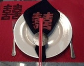 Custom Listing for Cheri T - Red and Black Chinese Chopstick Napkin Rings - Set of 8