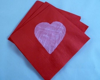Pink and Red Valentine or Wedding Paper Cocktail/ Lunch/ Dinner Napkins
