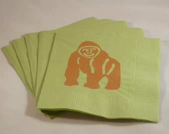 Green and Brown Ape Cocktail Napkins