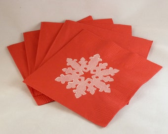 Red and White Snowflake Paper Cocktail/ Lunch/ Dinner Napkins
