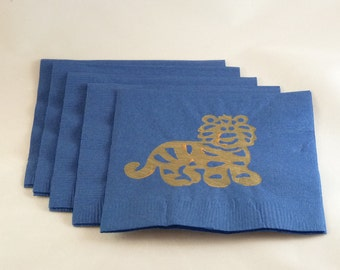 Blue and Tan Tiger Paper Cocktail/ Lunch/ Dinner Napkins